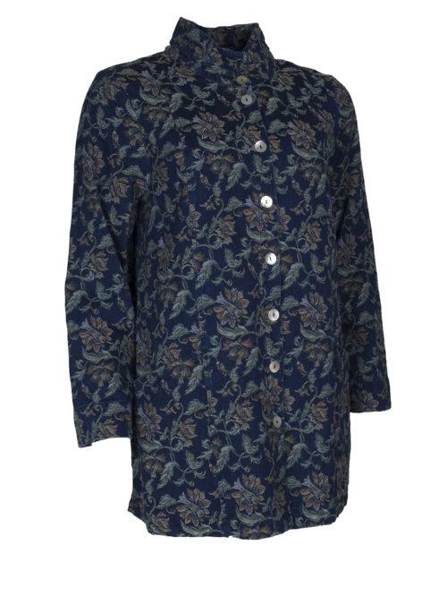 Denim Floral Jaquard Jacket