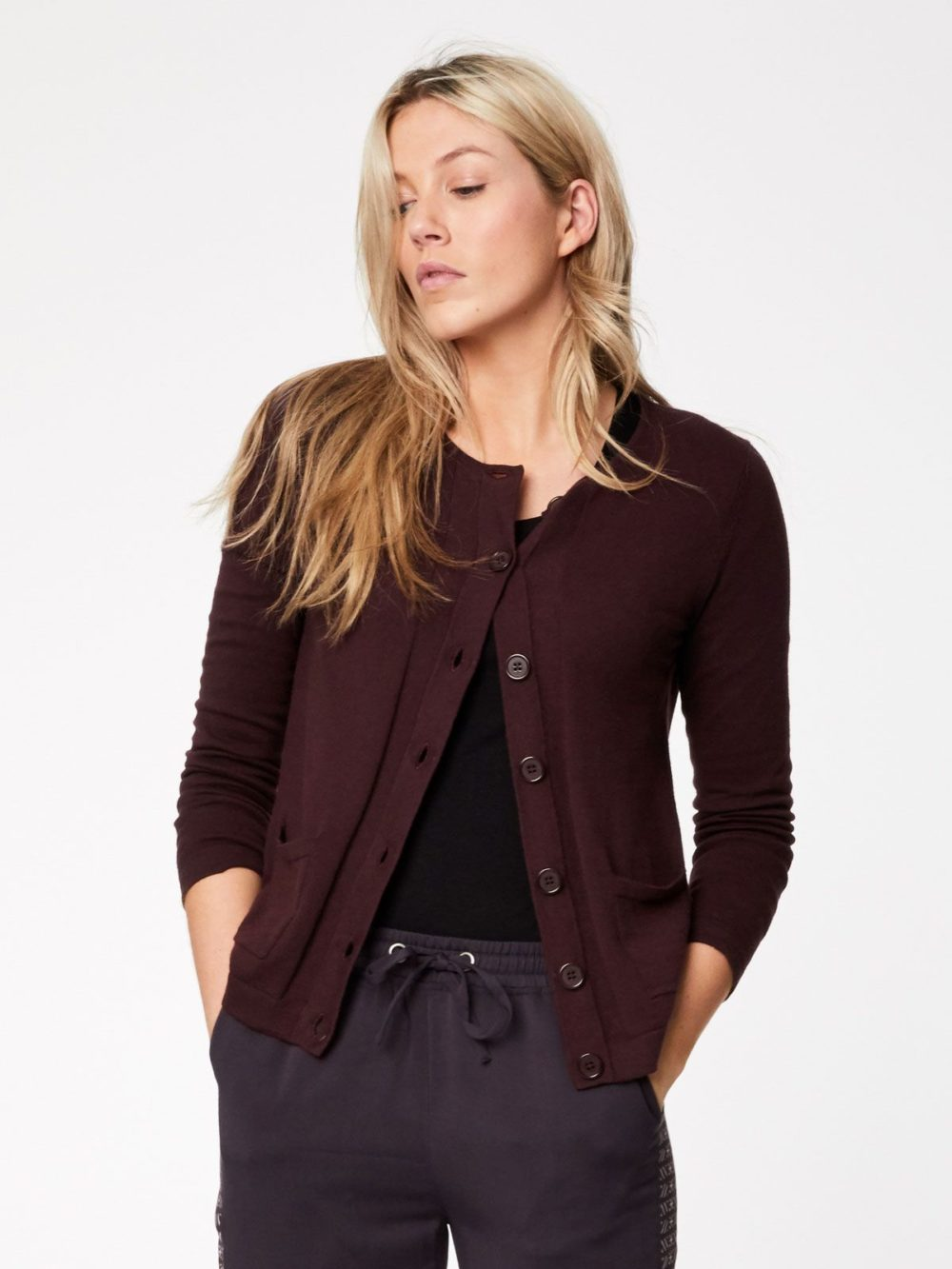 Thought Hatton Cardigan Aubergine