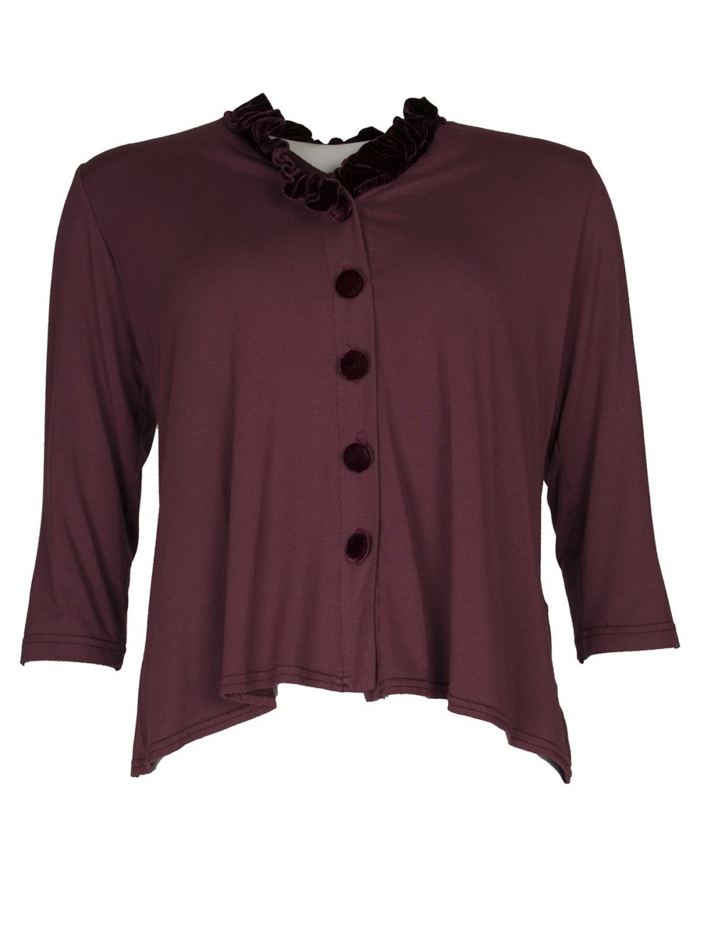 Velvet Trim Cardi 90v Out of Xile Katie Kerr Women's Clothing