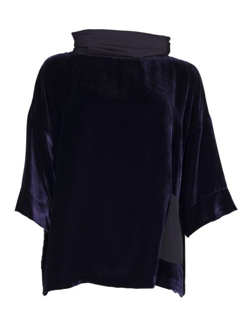 Taffeta Neck Velvet Top