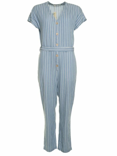 Striped Denim Jumpsuit Nice Things Katie Kerr Women's Clothing