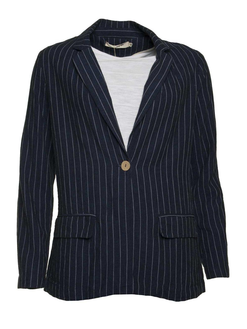 Linen Striped Blazer Nice Things Katie Kerr Women's Clothing