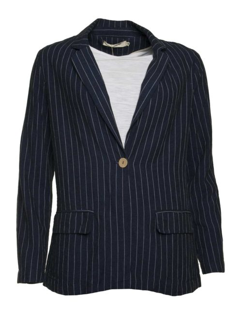 Linen Striped Blazer Nice Things Katie Kerr Women's Clothing