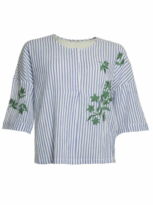 Striped Embroidery Chest Top Nice Things Katie Kerr Women's Clothing