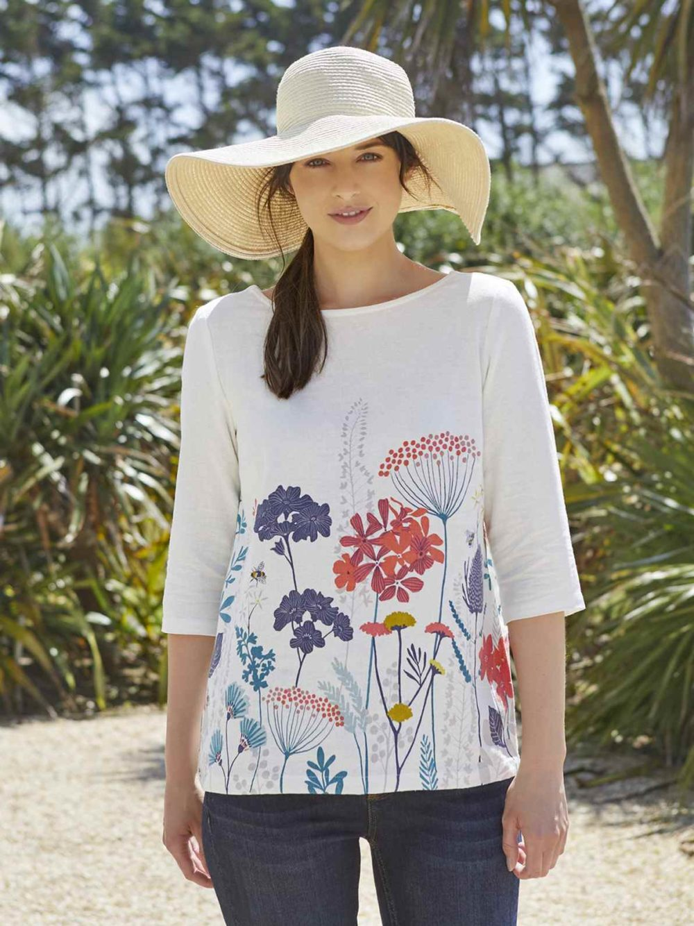 Border Print Top Floral Meadow Lily and Me Katie Kerr Women's Clothing