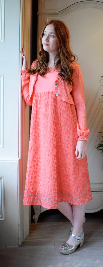 Out of Xile 06SS19 Orange Leaf Embroidery Panel Dress