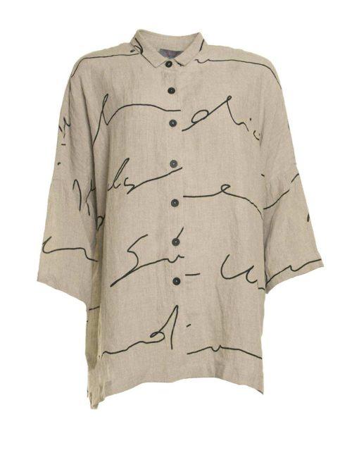Signature Print Linen Shirt Sahara Katie Kerr Women's Clothing