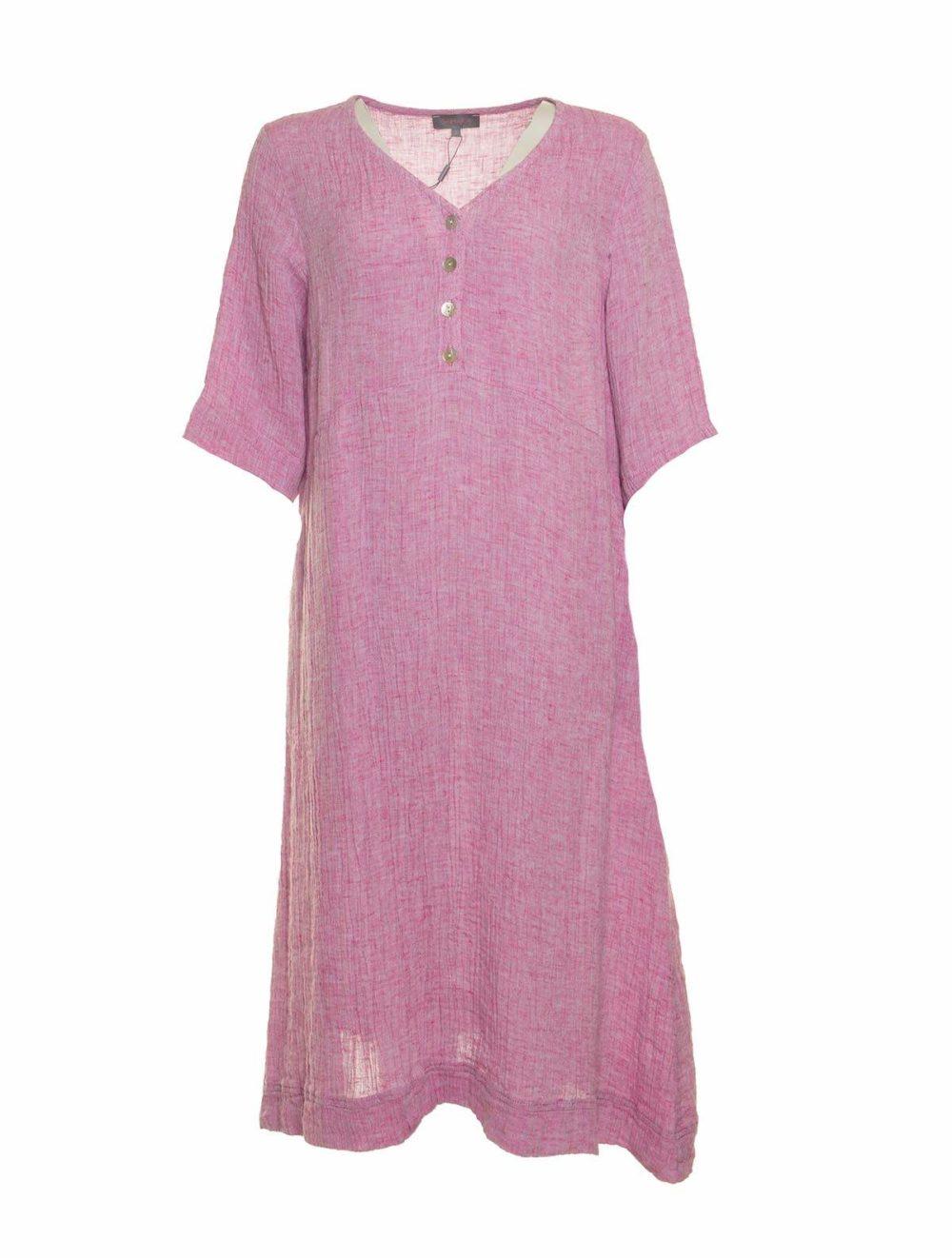 Crinkle Linen V Neck Dress Sahara Katie Kerr Women's Clothing