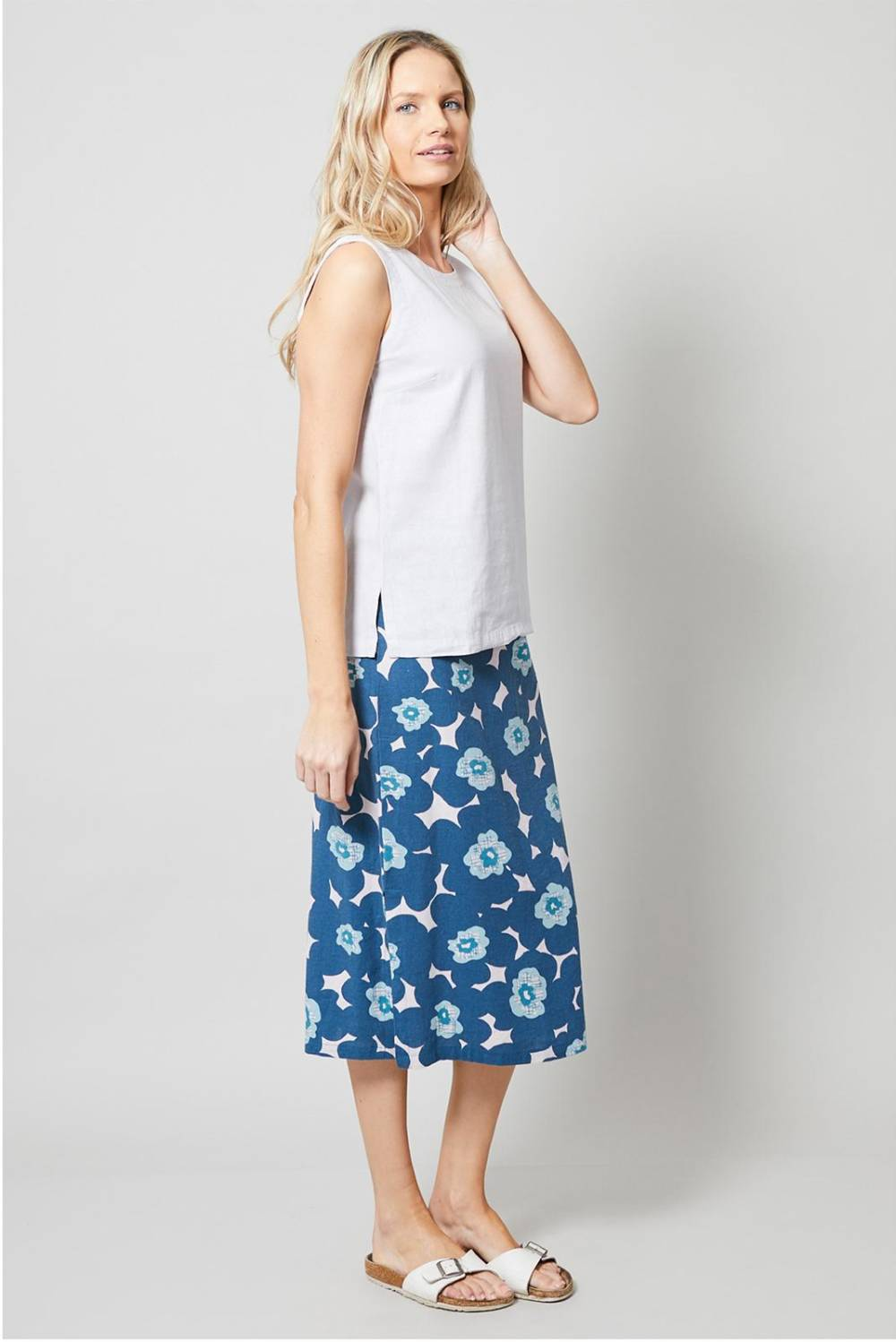 Midi Skirt Modern Floral Lily and Me Katie Kerr Women's Clothing