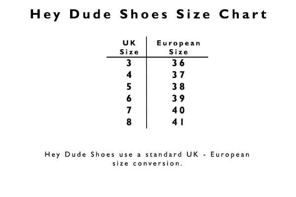 Hey Dude Shoes Size Chart