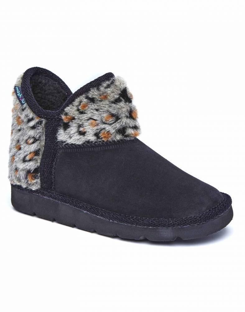 Snowman Black Slipper Boot - Jessie