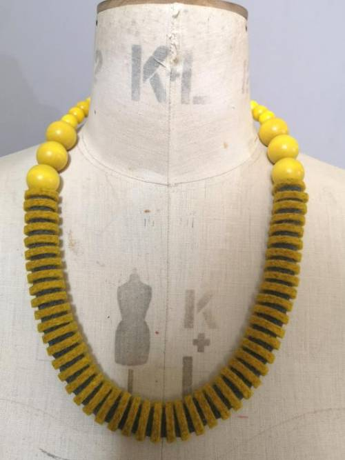 yellow and grey merino wool and wooden necklace